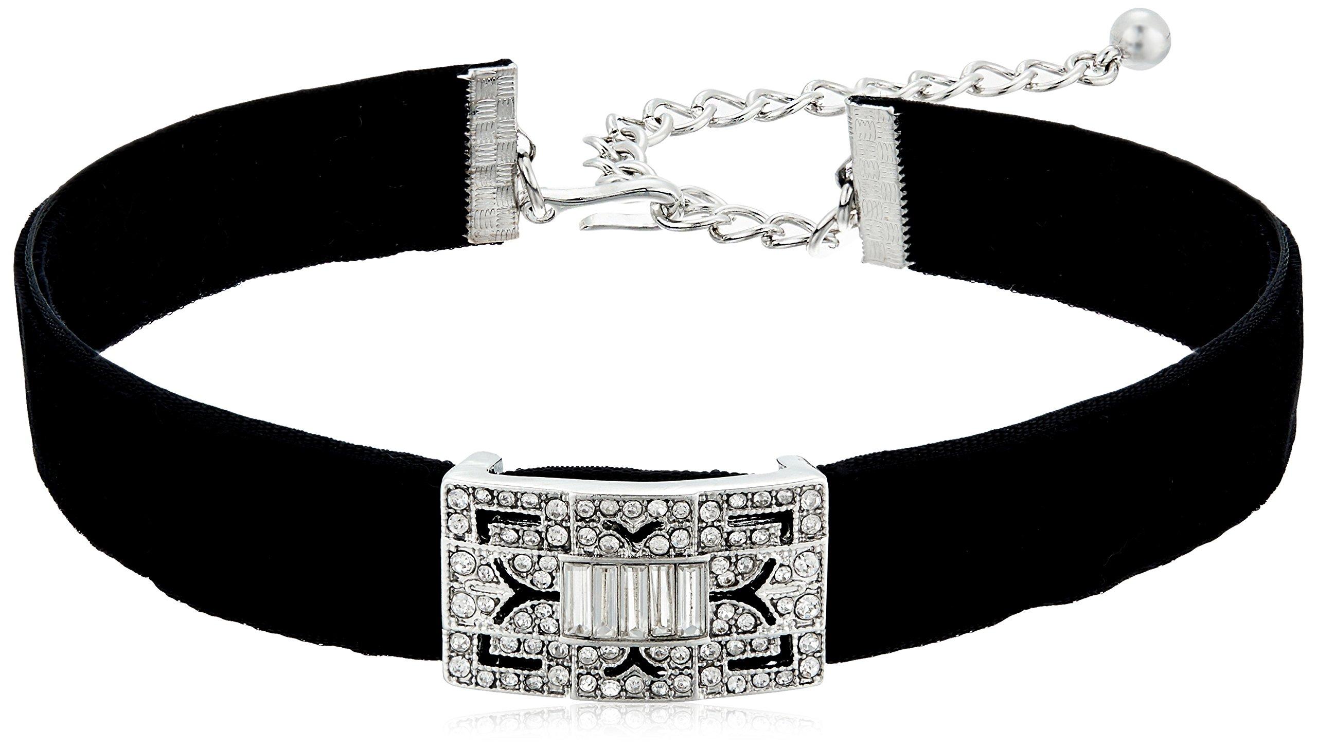Kenneth Jay Lane Black Velvet with Silver/Crystal Deco Choker Necklace, 12'' + 4'' Extender