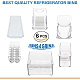 Stackable Bins Kitchen Storage Containers Refrigerator Organizer 6 pc Set Bins 4 Grins