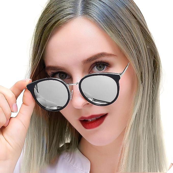 d607d79cc3 Amazon.com  Vintage Round Sunglasses for Women Mirrored