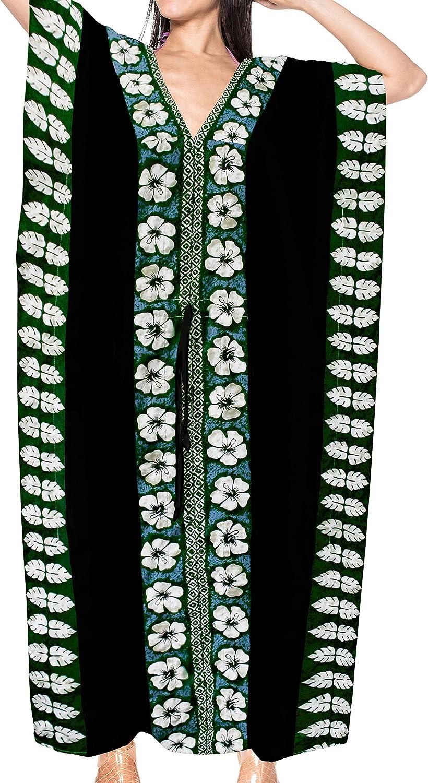 LA LEELA Mujeres caftán Rayón túnica Sólido Plain Kimono Libre tamaño Largo Maxi Vestido de Fiesta para Loungewear Vacaciones Ropa de Dormir Playa Todos los días Cubrir Vestidos E