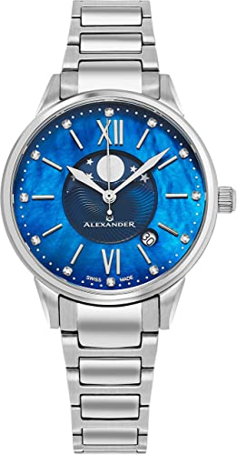 Amazon Com Alexander Monarch Vassilis Moon Phase Date Blue Mother Of Pearl 35 Mm Large Face Watch For Women Swiss Quartz Stainless Steel Silver Band Elegant Ladies Fashion Designer Dress Watch A204b 02
