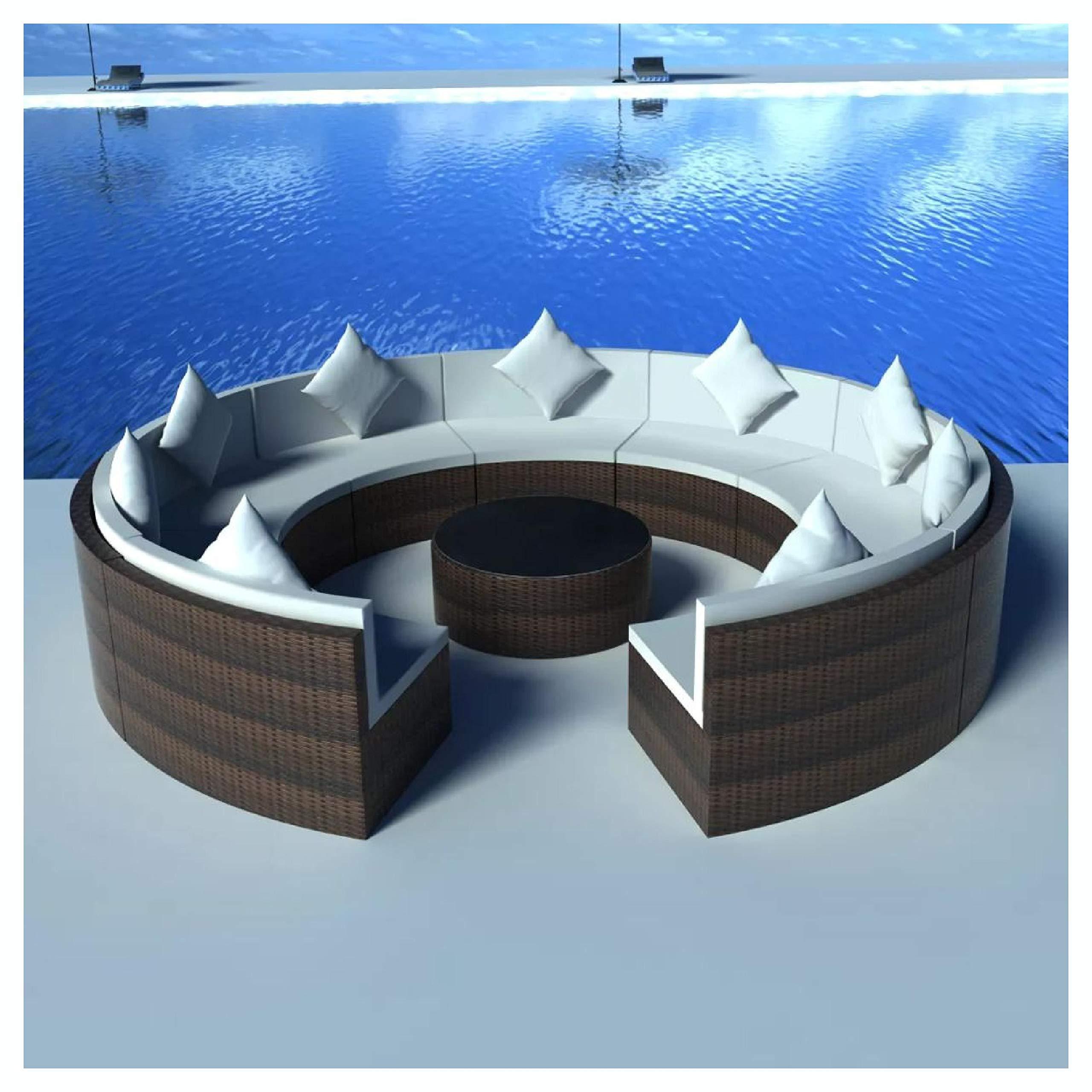 HEATAPPLY Outdoor Furniture Set, 10 Piece Garden Lounge Set with Cushions Poly Rattan Brown by HEATAPPLY