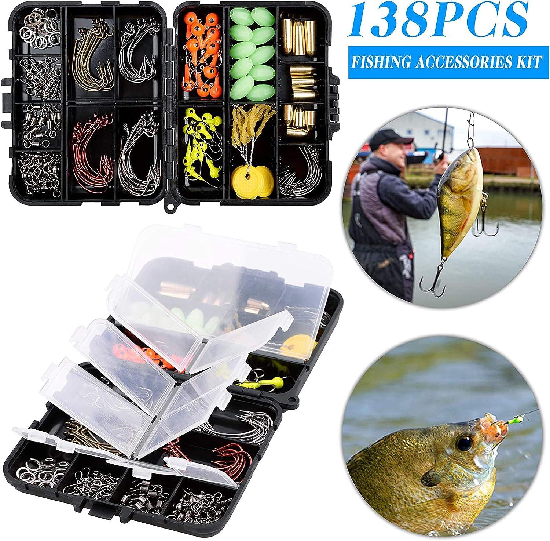 138pcs Fishing Accessories Tackle Box Jig Hooks Sinker Bass Swivel Soft Lures UK