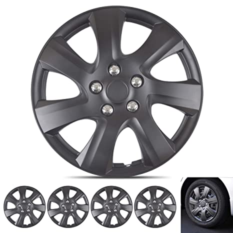 "Wheel Guards – (4 Pack) Hubcaps for Car Accessories Wheel Covers Snap Clip-On Auto Tire Rim Replacement for 16 inch Wheels 16"" Hub Caps (Matte Black ..."