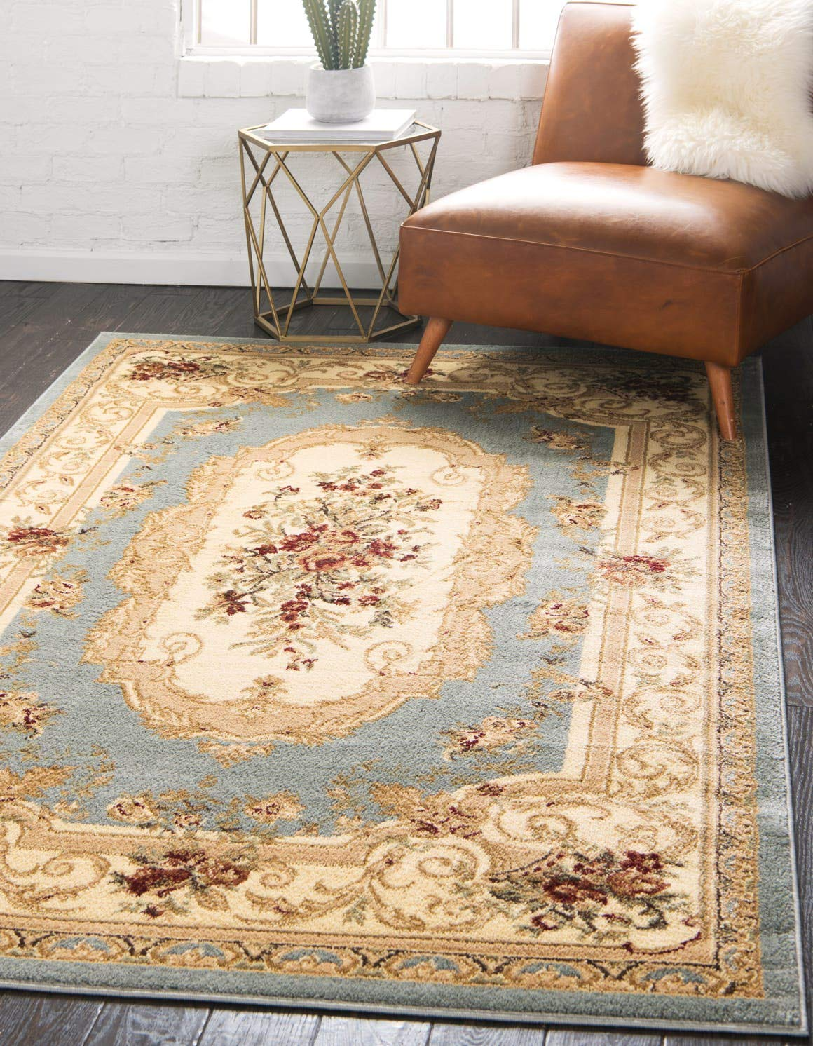 Unique Loom Versailles Collection Traditional Classic Light Blue Area Rug 5 0 x 8 0