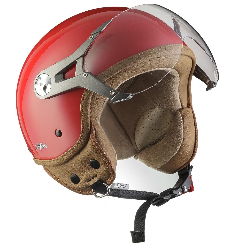 SOXON SP-325-MONO Red · Urban Chopper Cruiser Moto motocicleta Vintage Casco Demi-Jet Scooter Mofa Vespa Piloto Biker Urbano Helmet Retro Bobber · ECE certificado · visera incluido · incluyendo bolsa de casco · Rojo &midd