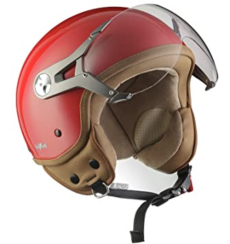 SOXON SP-325-MONO Red · Cruiser Biker Vintage Urbano Chopper Casco Demi-