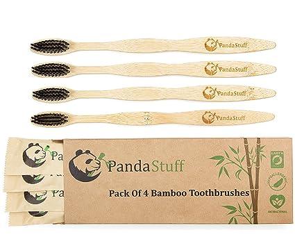 Panda Stuff - Cepillo de Dientes de bambú orgánico – Cepillo ecológico cerdas Suaves – para