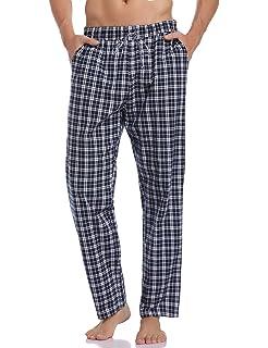 Hawiton Pantalones de Pijama Hombre Algod/ón Largo Pantalones de Dormir Hombre Invierno de Cuadros Pantal/ón Pijama de Estar por Casa