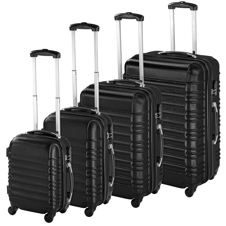 TecTake Set de 4 valises de voyage de ABS avec serrure à combinaison intégrée | poignée télescopique | roulettes 360° - diverses couleurs au choix - (Argent | no. 402025) 800317