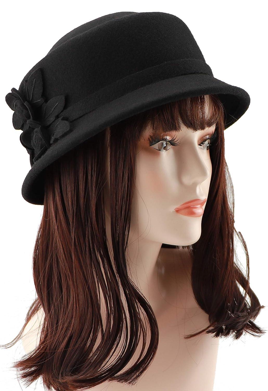 d59e6d7c6a Amazon.com  Loufmive Women s Wool Felt Flowers Church Bowler Hats Cloche  Hat Felt Bucket Hat Winter (Black)  Clothing