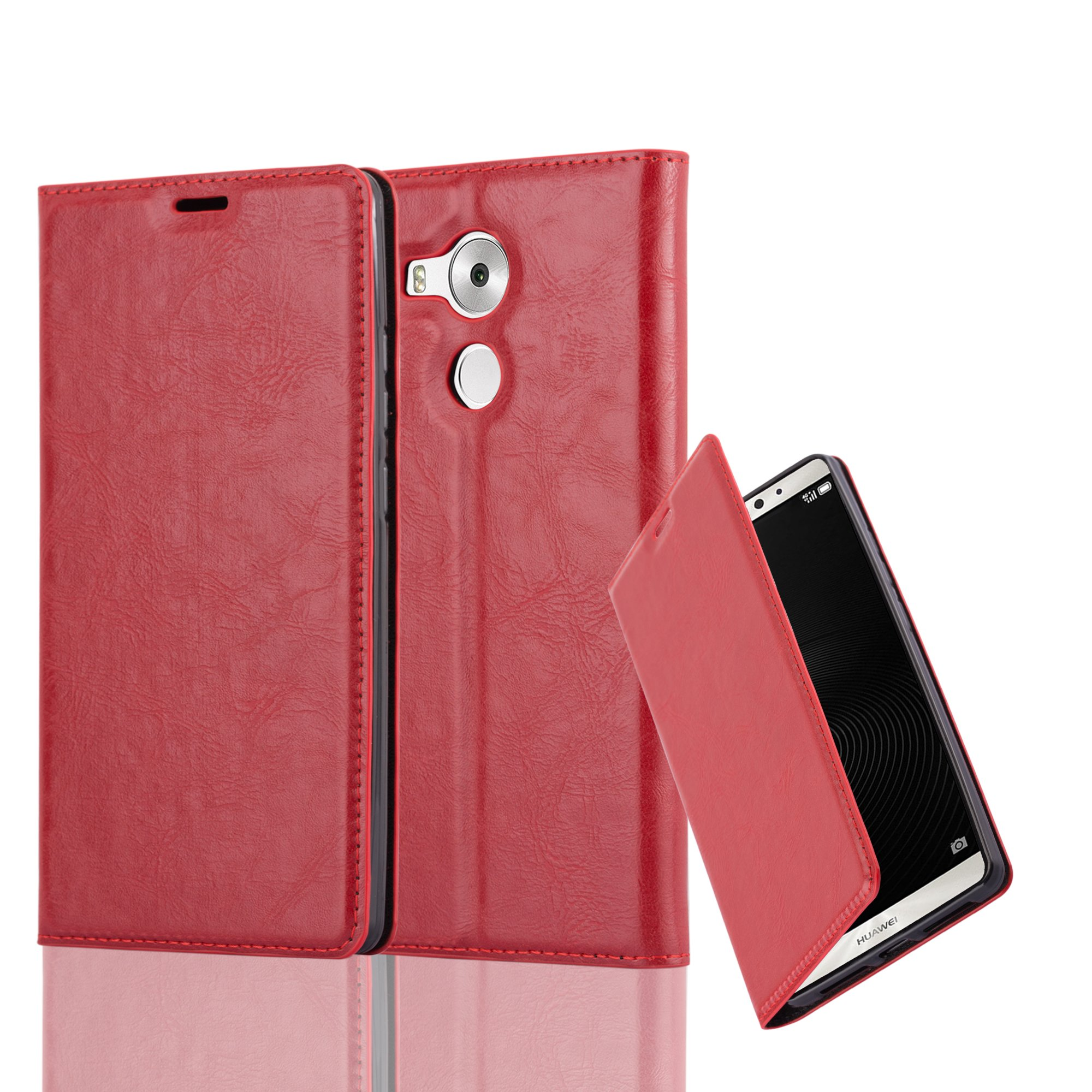 Cadorabo Case works with Huawei MATE 8 Book Case in APPLE RED (Design INVISIBLE CLOSURE) – with Magnetic Closure, Stand Function and Card Slot – Wallet Case Etui Cover PU Leather