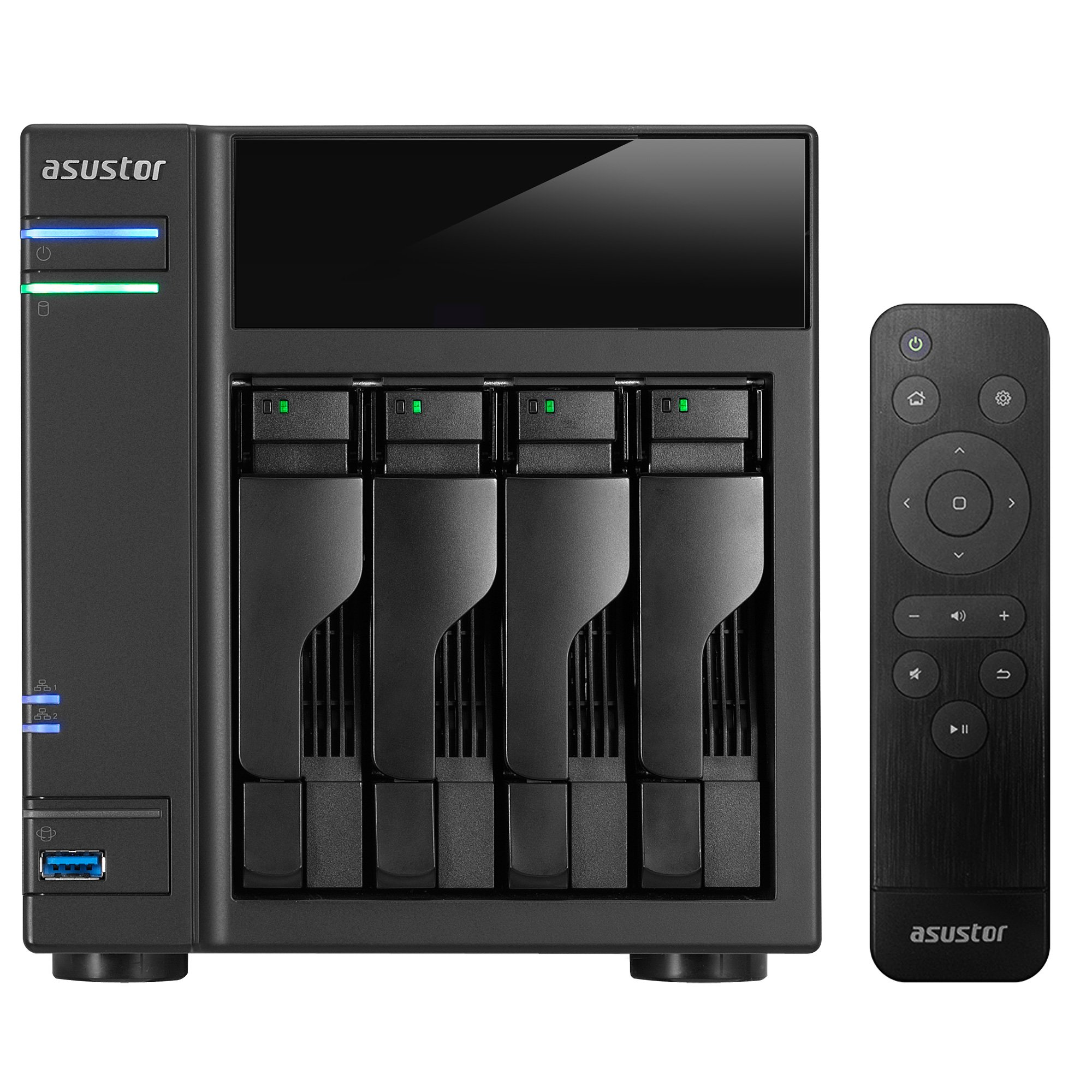 Asustor AS6104T + AS-RC13 Remote | 1.6GHz Dual-Core, 2GB RAM | Personal Private Cloud | Home Media Server | Network Attached Storage (4 Bay Diskless NAS)
