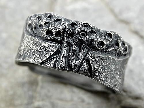 Amazon Com Tree Of Life Ring Black Silver Rustic Viking Ring