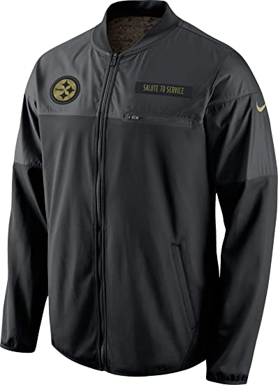 41005df6a Amazon.com   Nike Pittsburgh Steelers Salute to Service Hybrid Performance Men s  NFL Jacket (Medium) Black   Clothing