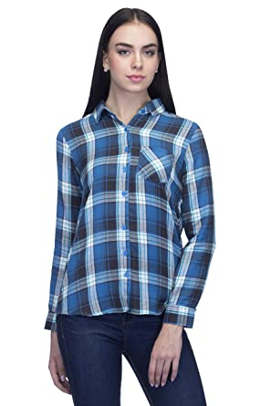 662f67afb5d One Femme Women's Cotton Checkered Full- Sleeve Shirt