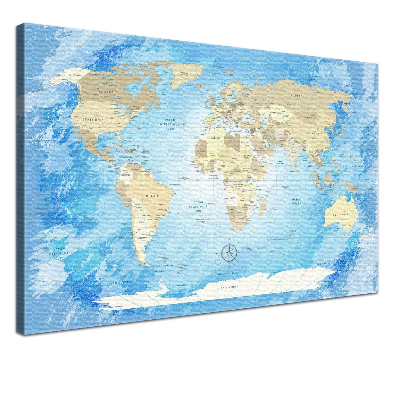 Amazon.de: LANA KK Weltkarte Leinwandbild mit Korkrückwand zum ...