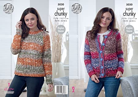 6571c396c Image Unavailable. Image not available for. Colour  King Cole Ladies Super  Chunky Knitting Pattern Raglan Sleeve Lacy Cardigan ...