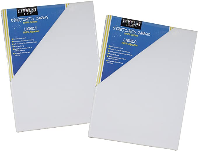 16 x 20 Inches Sax Quality Stretched Canvas White Double Acrylic Primed