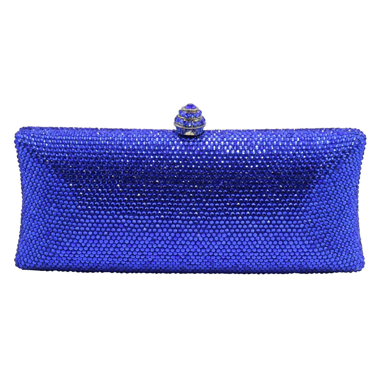 DMIX Crystal Purse Rhinestone Box Clutch Evening Bags Royal Blue