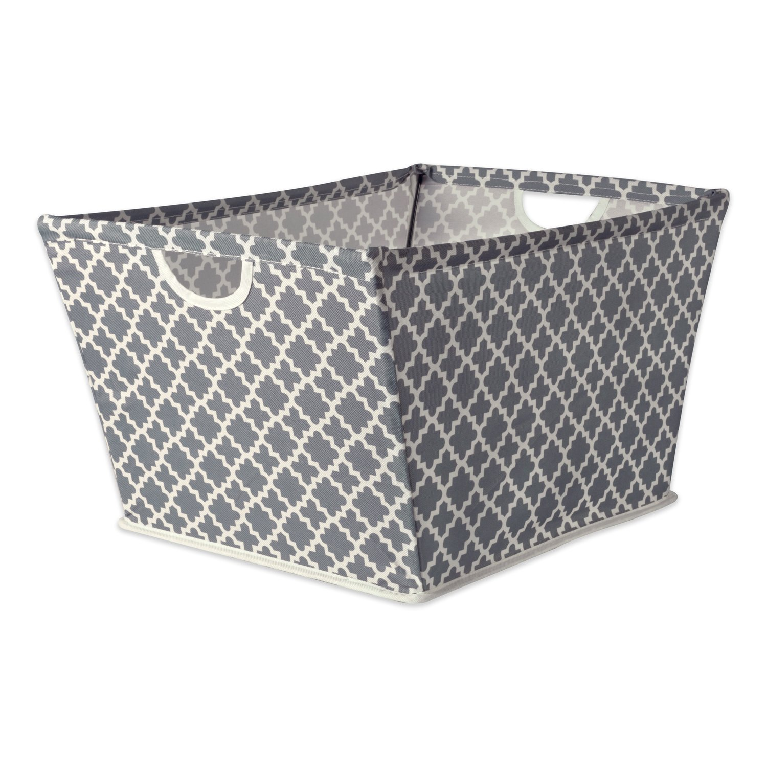 DII Collapsible Polyester Trapezoid Storage Basket, Home Organizational Solution for Office, Bedroom, Closet, & Toys (Large - 20x14x11'') Gray Lattice