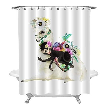 MitoVilla Boho Llama Shower Curtain 3D Mexico Alpaca With Flower Bouquet Hummingbird And Black Monkey