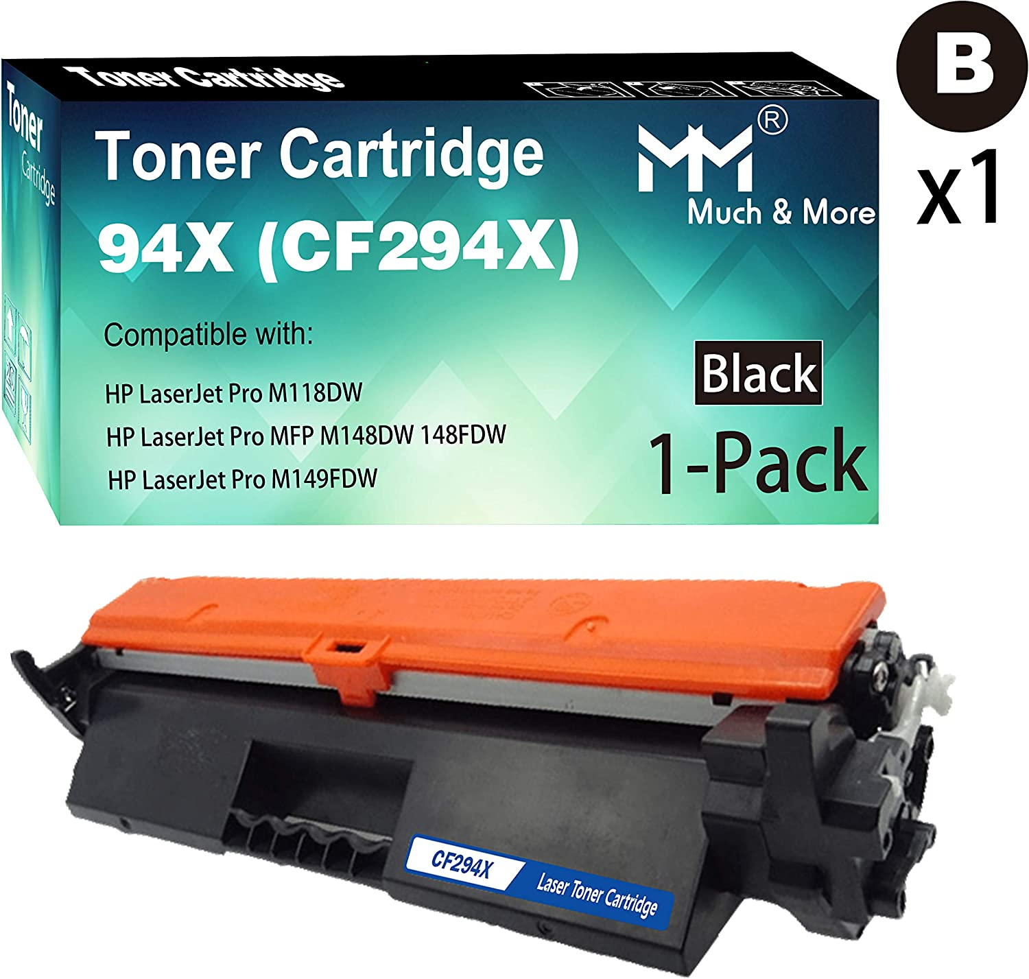 Compatible (1-Pack, High Yield, Black) 294X CF294X Toner Cartridge 94X Used for HP M118DW MFP M148DW 148FDW M149FDW M149FDW Printer, Sold by MuchMore