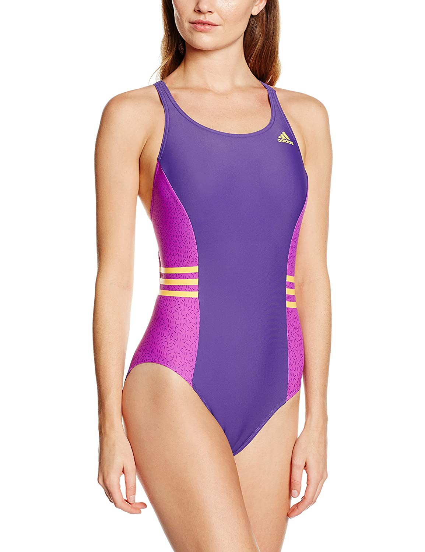 dfa00dd38b Adidas Women's Infinitex Inspiration 1-Piece Swimsuit - Unity Purple  F16/Shock Purple F16/Solar Gold, Size 40: Amazon.co.uk: Sports & Outdoors