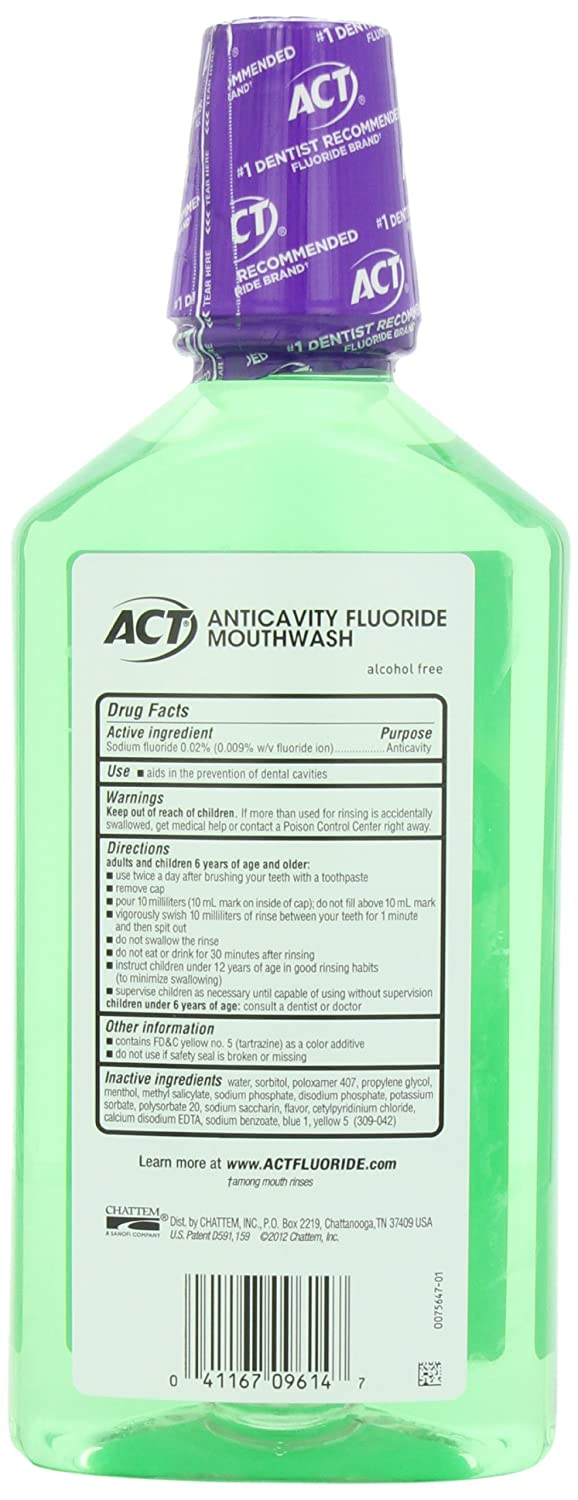 ACT Total Care Anticavity Fluoride Mouthwash Fresh Mint, 33.8-Ounce Bottle Pack of 3