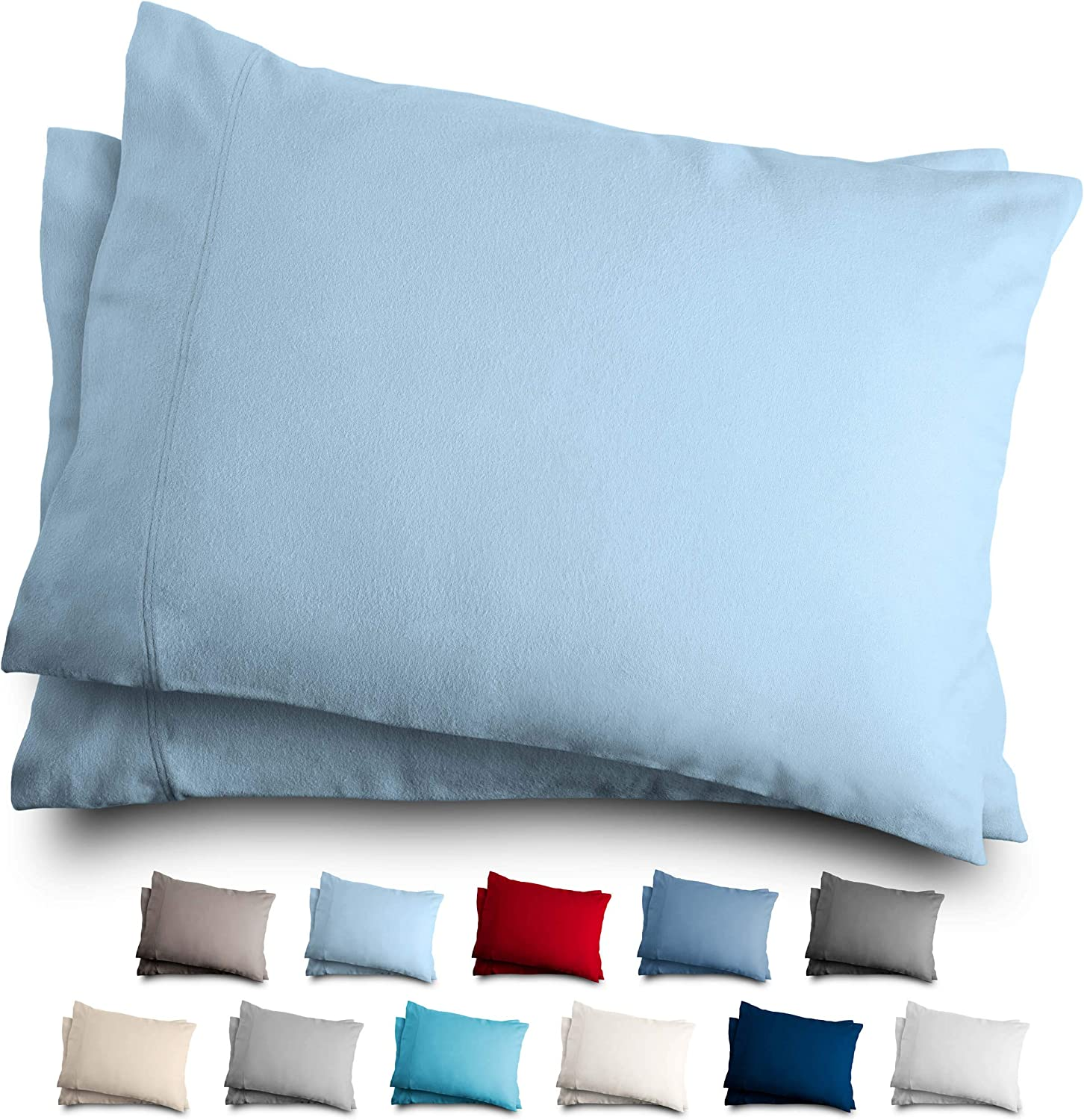 Bare Home King Flannel Pillowcase Set - 100% Cotton - Velvety Soft Heavyweight - Double Brushed Flannel (King Pillowcase Set of 2, Light Blue)
