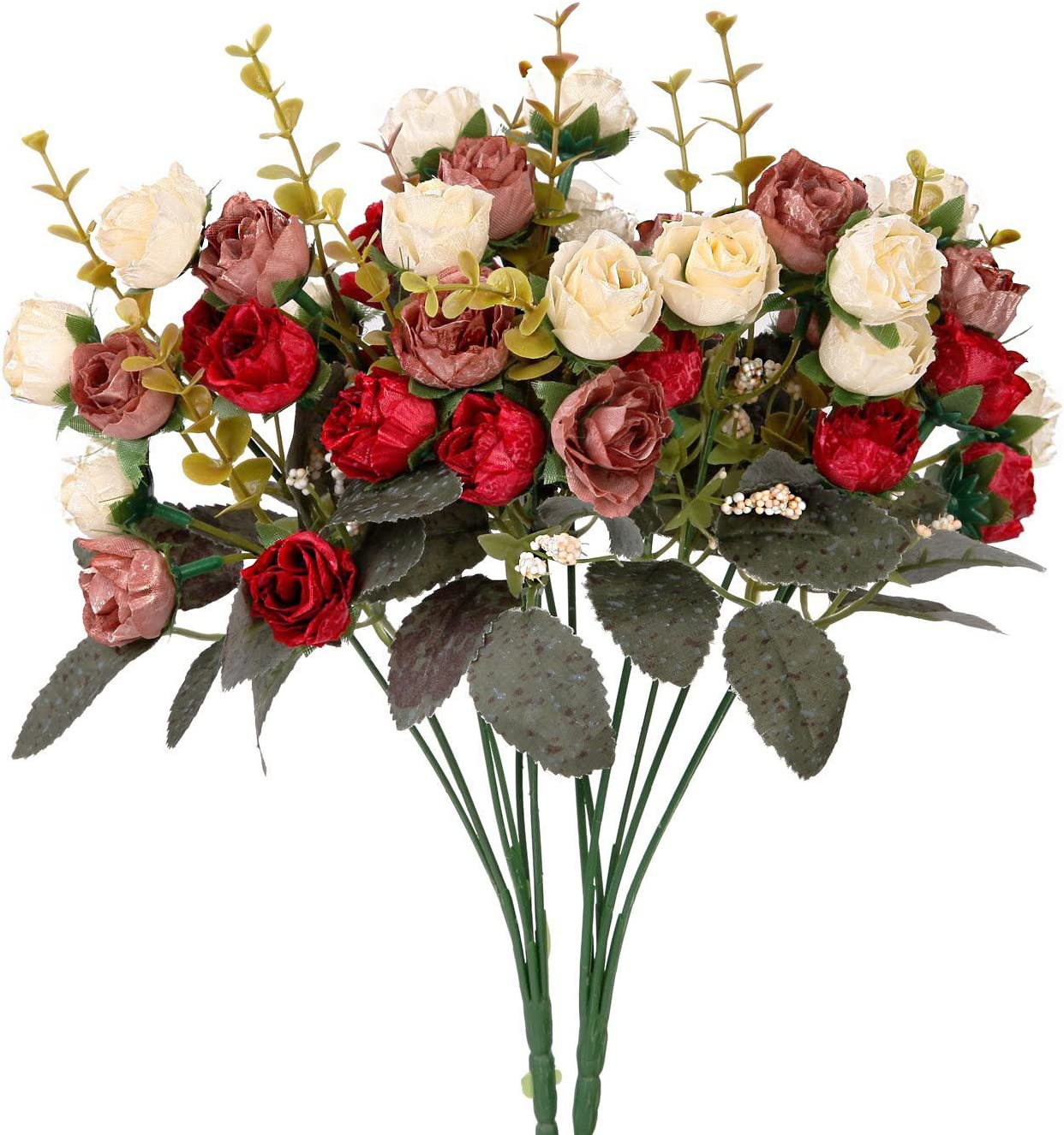 Houda Artificial Silk Fake Flowers Rose Floral Decor Bouquet,Pack of 2 (Red Coffee)