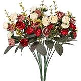 Houda - Bouquet di rose, fiori artificiali in seta, rami con boccioli, decorazione floreale per matrimonio, confezione da 2 Red Coffee