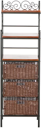 Manilla Bakers Rack – 3 Drawer w Woven Baskets – Wood w Black Metal Frame