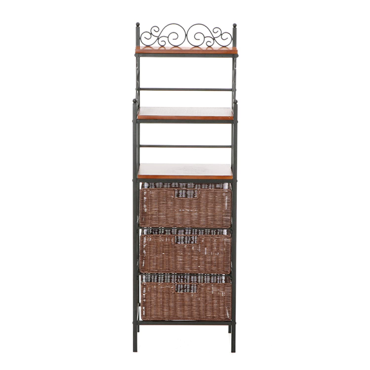 Southern Enterprises, Inc. Manilla 3-Drawer Bakers Rack - Black w/Brown SEI KA9160 UT2005