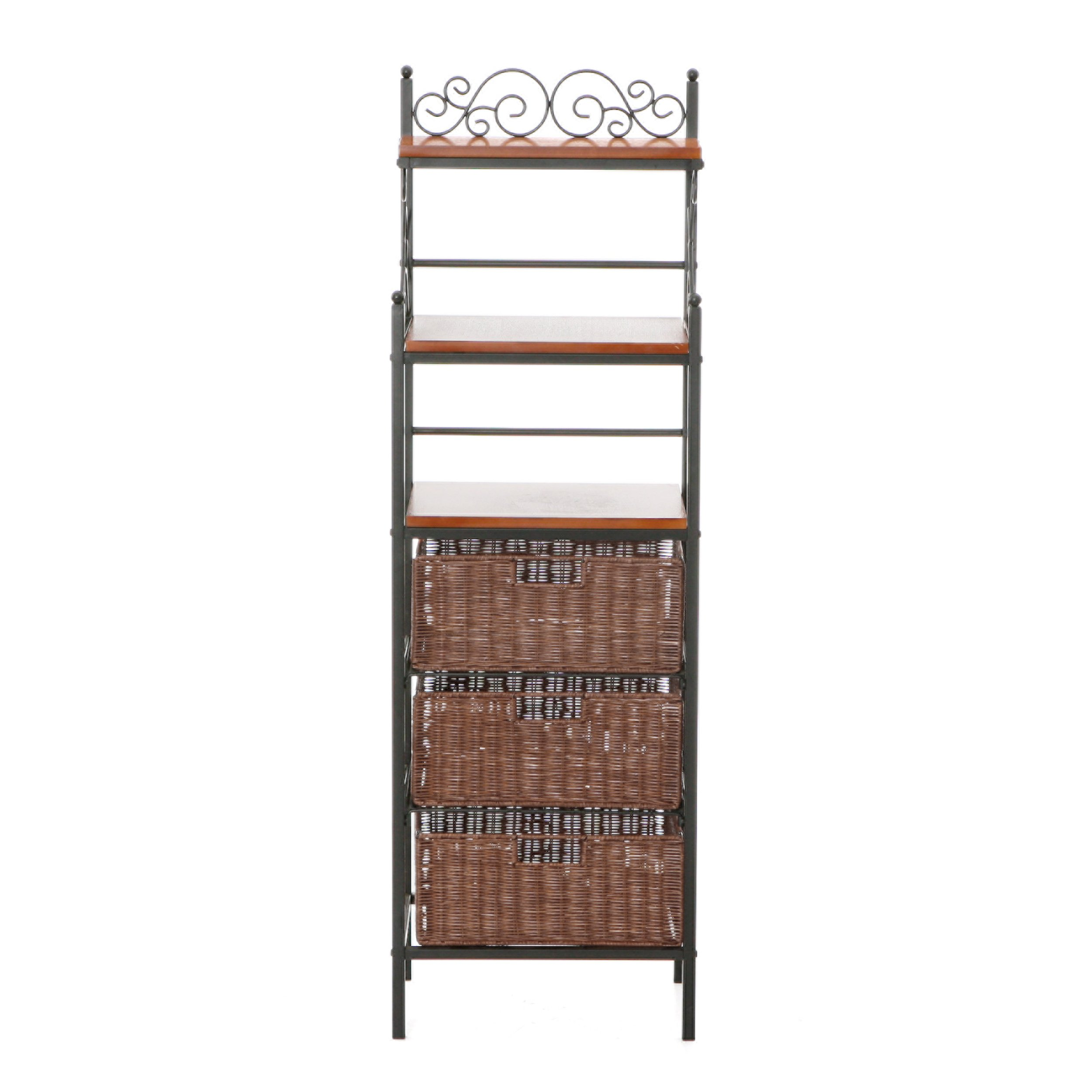 Manilla Bakers Rack - 3 Drawer w/ Woven Baskets - Wood w/ Black Metal Frame by Southern Enterprises
