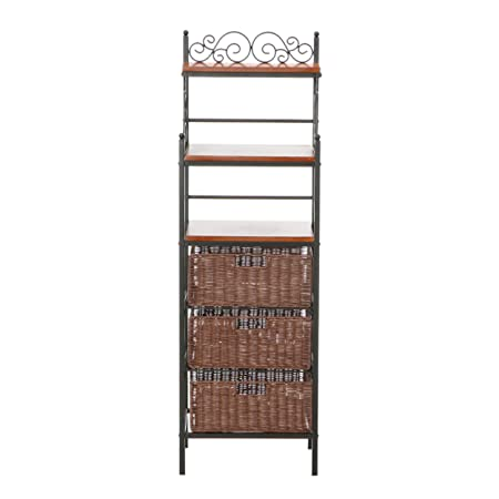 Manilla 3-Drawer Bakers Rack – Black w Brown