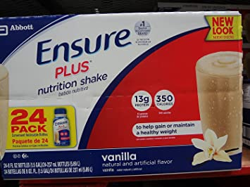 Ensure Plus 24-8 Fl Oz Nutrition Shake, Vanilla, 192 Fl Oz