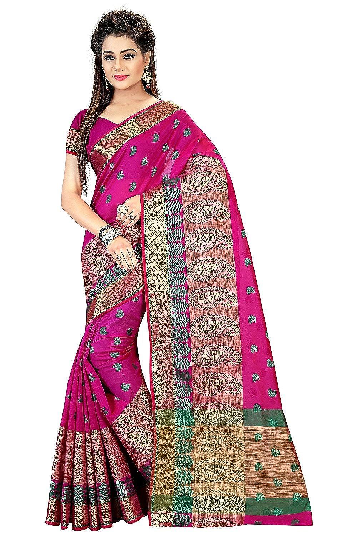 Royal Export Women's Cotton Silk Saree (Pink)