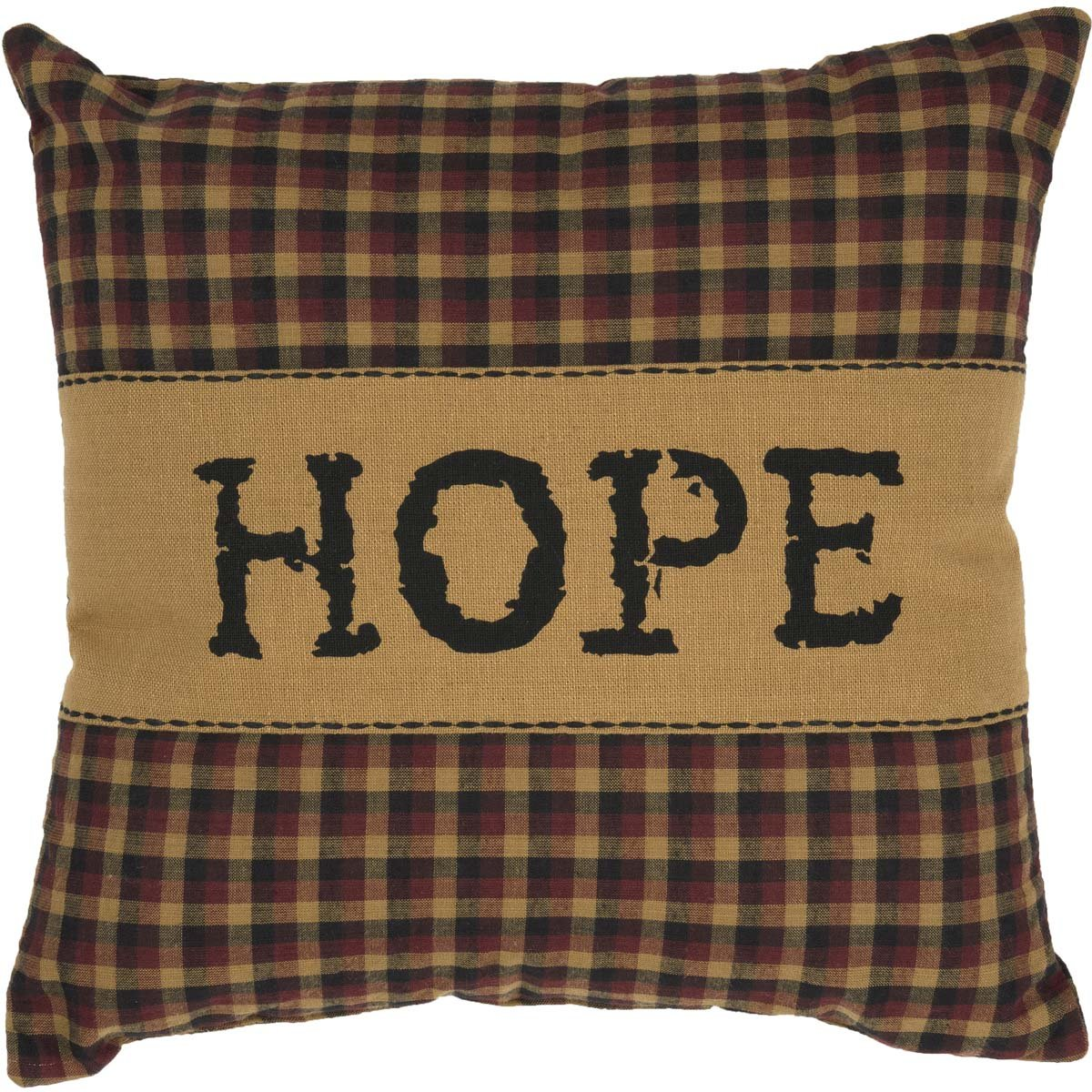 VHC Brands Crimson Red Primitive Classic Country Decor Heritage Farms Hope 12x12 Pillow