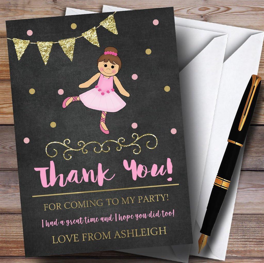 Chalk Gold Girls Ballerina Ballet Party Thank You Cards
