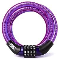 Meetlocks Câble antivol à code pour vélo en spirale 6-8mmx1200mm