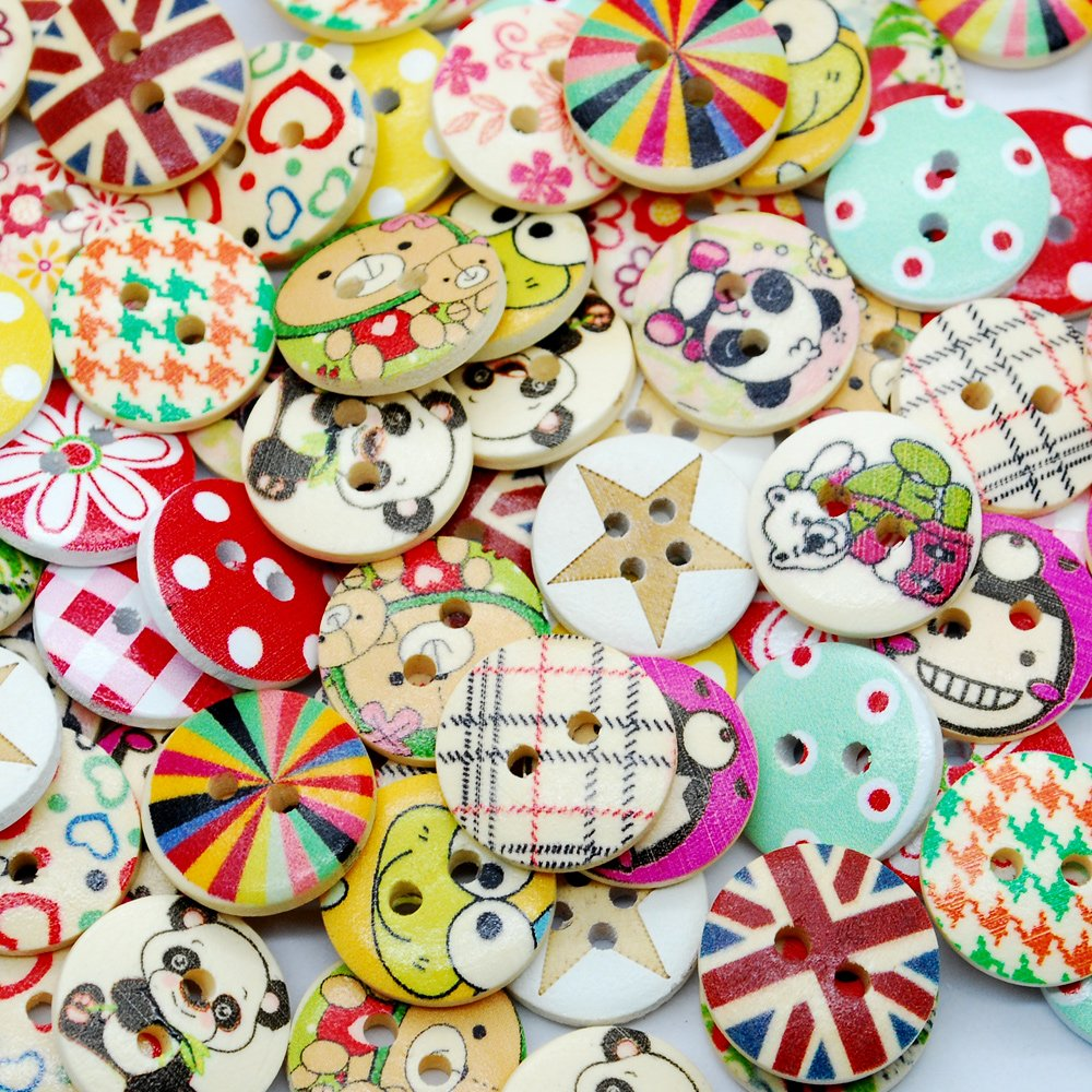 100pcs Mixed Wooden Buttons in Bulk Buttons for Crafts Button Round Colorful dow
