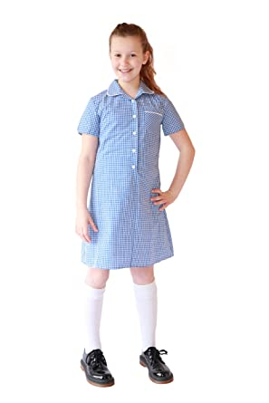 b3f28d899c4 100% Pure Cotton Girls Gingham School Dress: Amazon.co.uk: Clothing