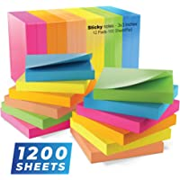 Sticky Notes 3x3, Bright Colorful Stickies, 12 Pads 1200 Sheets Total, Strong Self-Stick Notes, 6 Colors (Yellow, Green…