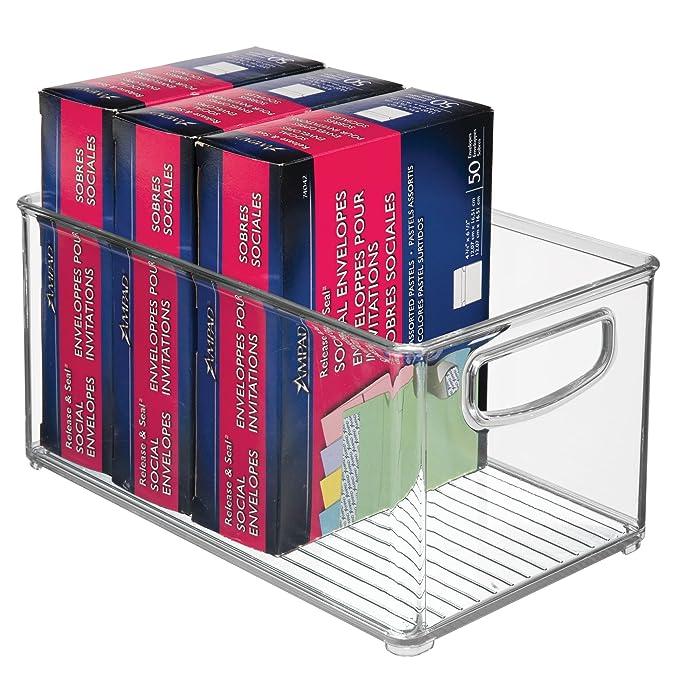 mDesign - Caja de almacenamiento apilable de plástico, organizador de escritorio y cajón con asas para guardar bolígrafos de gel, gomas, cinta adhesiva, ...