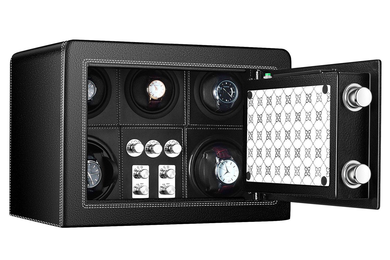 JQUEEN Watch Winder Box with Fingerprint Safe Cabinet, 0.7-Cubic Feet