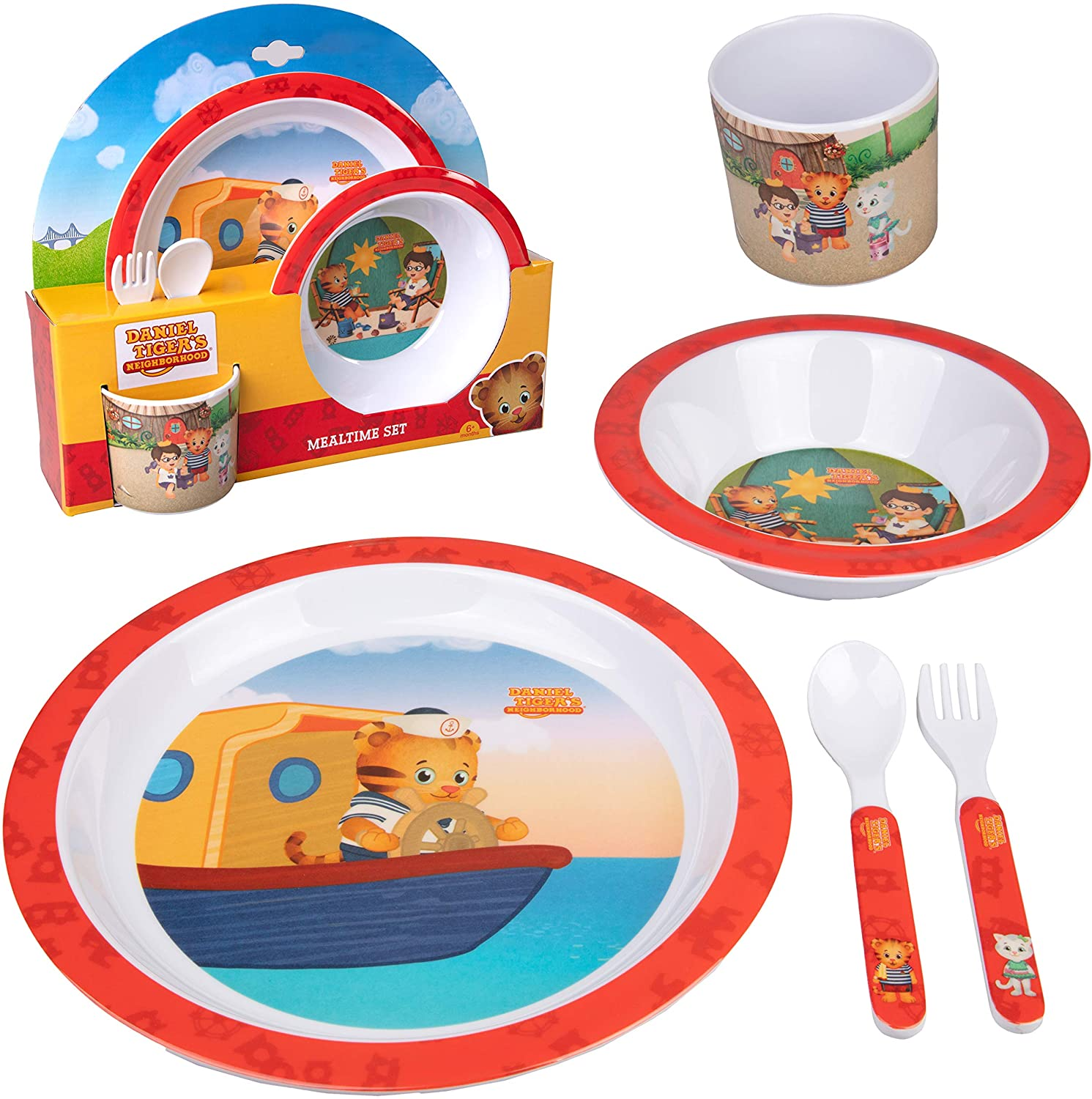 Daniel Tiger 5 Pc Mealtime Feeding Set for Kids and Toddlers - Includes Plate, Bowl, Cup, Fork and Spoon Utensil Flatware - Durable, Dishwasher Safe, BPA Free (Red)