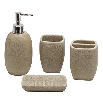 Set di accessori per il bagno - modello Cream 5: Amazon.it: Casa e ...