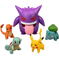 Pokémon Figure Multi Pack Set with Deluxe Action Gengar - Generation 1 - Includes Pikachu, Squirtle, Charmander…