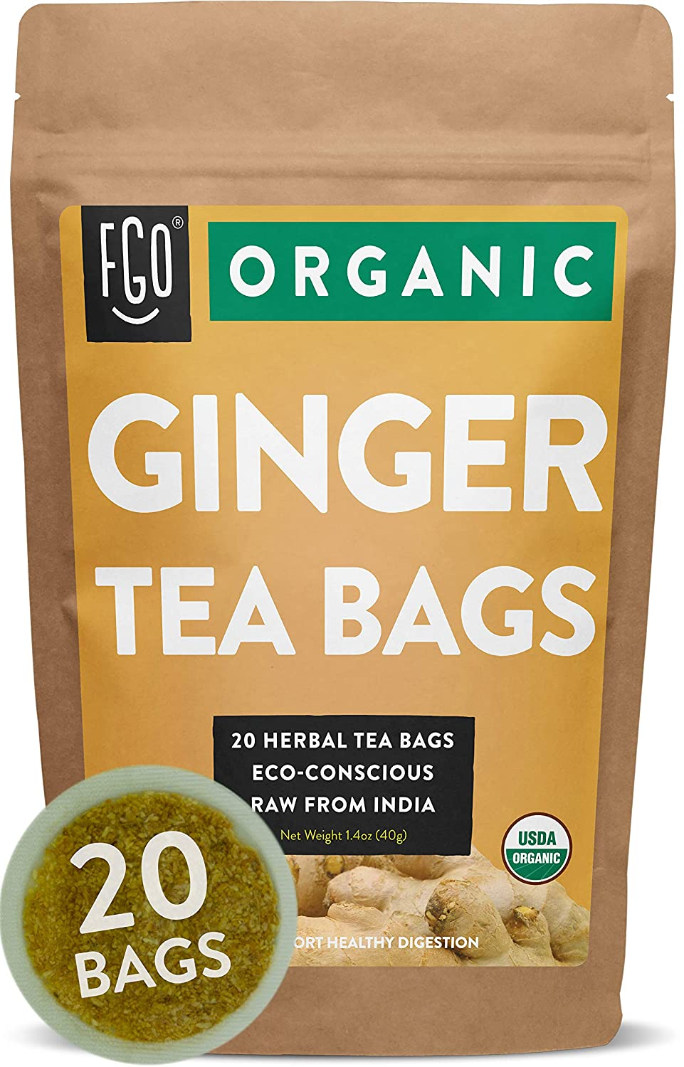 20 Tea Bags | Eco-Conscious Tea Bags in Kraft Bag | Raw from India